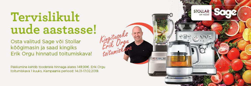 Osta valitud Sage või Stollar köögimasin ja saad kingiks Erik Orgu hinnatud toitumiskava!