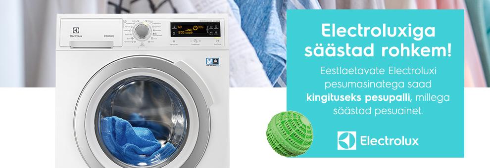 Eestlaetavate Electroluxi pesumasinatega saad kaasa pesuvahendit säästva pesupalli!