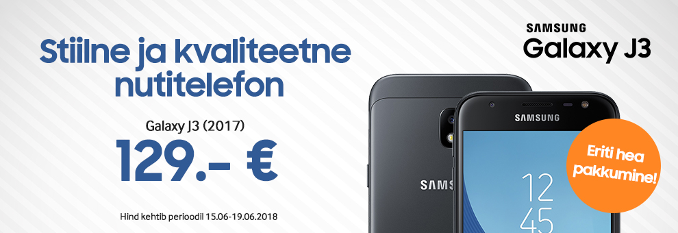 Samsung Galaxy J3 (2017) vaid 129€! Pakkumine kehtib 15.06 - 19.06.2018