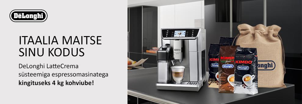 DeLonghi LatteCrema süsteemiga espressomasinatega kingiks 4kg kohviube!
