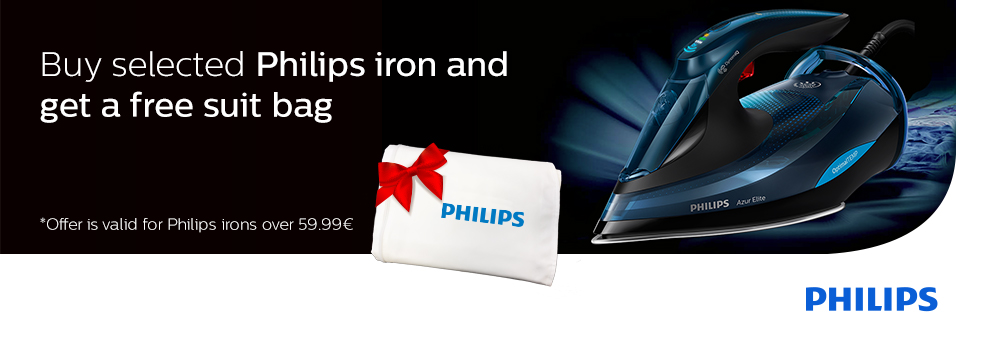 Free suit bag with select Philips irons.