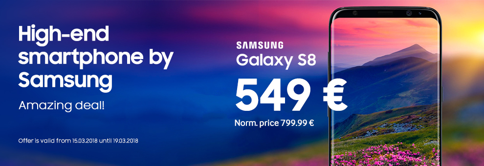 Samsung Galaxy S8 for just 429€! Offer is valid from November 15th until November 13th 2018.
