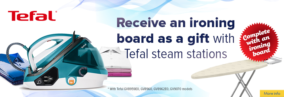 Free ironing board  with a Tefal ironing system