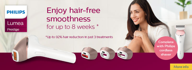 MP Buy a Lumea Prestige IPL hair remoer and get free Satinshave Advanced shaver