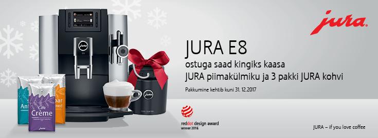 MP  Jura E8 Chrome espressomasinaga kingituseks JURA piimakülmik ja 3 pakki JURA käsitöö kohvi!