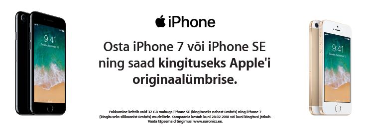 PL Tasuta originaalümbris iPhone 7 ja iPhone SE 32GB mudelitega