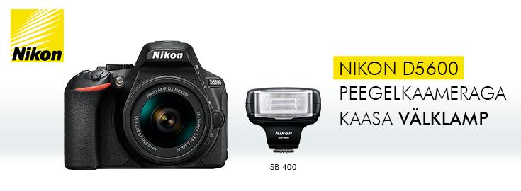 PL Nikon D5600 peegelkaameraga kaasa välklamp SB400