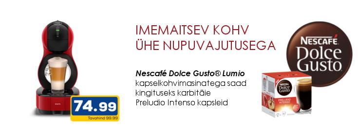 MP Dolce Gusto Lumio kapselkohvimasinaga kaasa pakk Preludio Intenso kohvikapsleid
