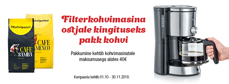 MP Valitud filterkohvimasinatega kaasa Cafe Flameco filtrikohv