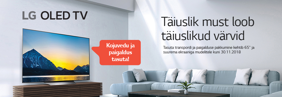 MP Novembri lõpuni on vähemalt 65-tolliste  LG OLED-telerite kojuvedu ja paigaldus tasuta!
