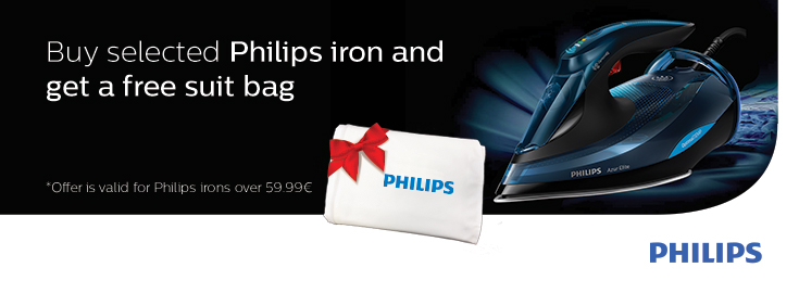 PL Free suit bag with select Philips irons.