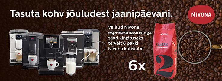 MP Valitud Nivona espressomasinatega saad kingituseks tervelt 6 pakki kohviube!