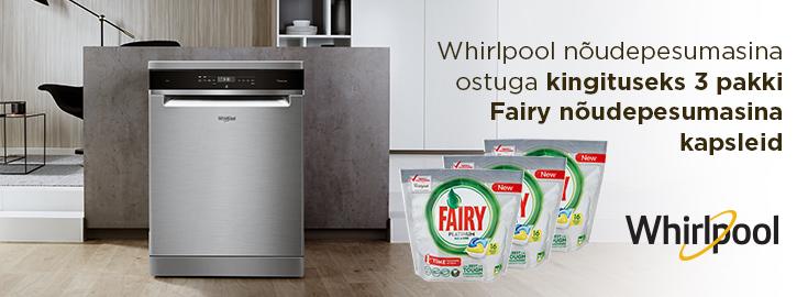 MP Whirlpooli  nõudepesumasinatega kaasa 3 pakki Fairy pesuvahendi kapsleid