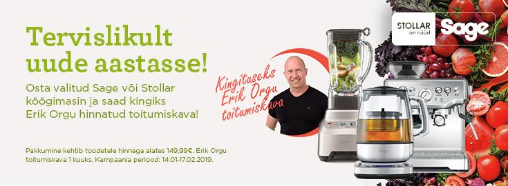 PL Osta valitud Sage või Stollar köögimasin ja saad kingiks Erik Orgu hinnatud toitumiskava!