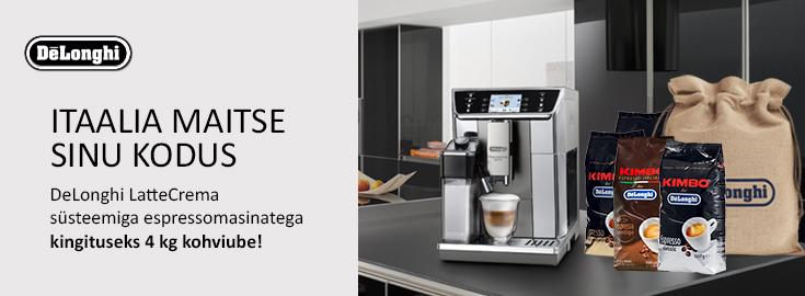 MP DeLonghi LatteCrema süsteemiga espressomasinatega kingiks 4kg kohviube!