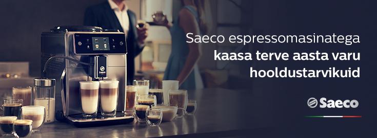PL Saeco espressomasinatega kaasa terve aasta varu hooldustarvikuid