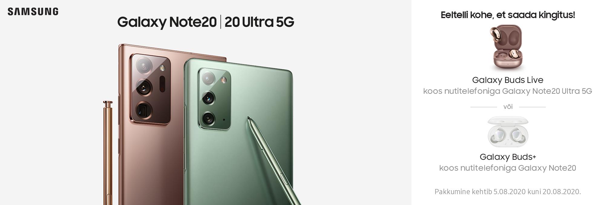 PL  Eeltelli Samsung Galaxy Note20 või Note20 Ultra 5G ja saa kingiks Samsungi juhtmevabad kõrvaklapid
