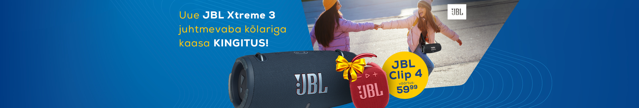 Buy a JBL Xtreme 3 speaker and get Clip 4 as a gift!