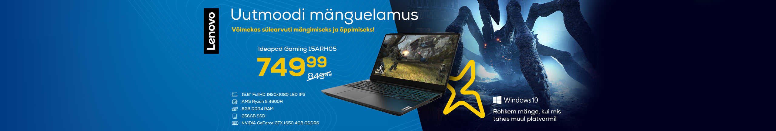 Lenovo notebook with a powerful processor for gaming and studying!