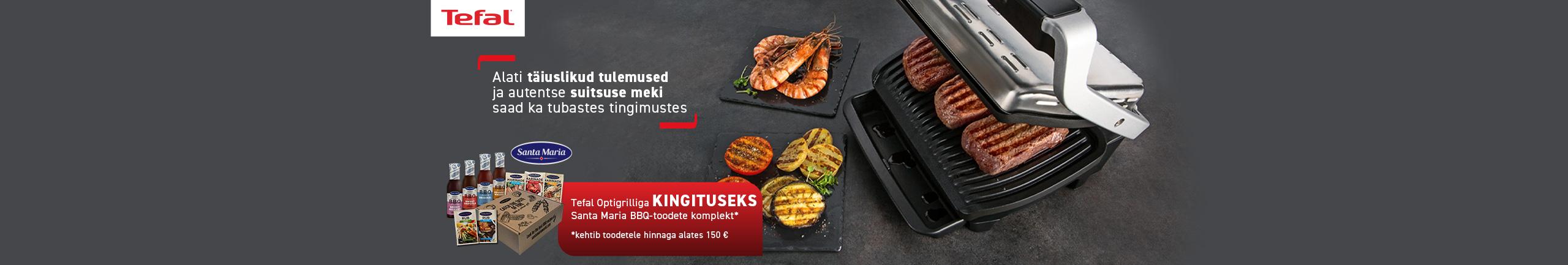 Buy Selected Tefal Optigrill and get Santa Maria BBQ gift set as present