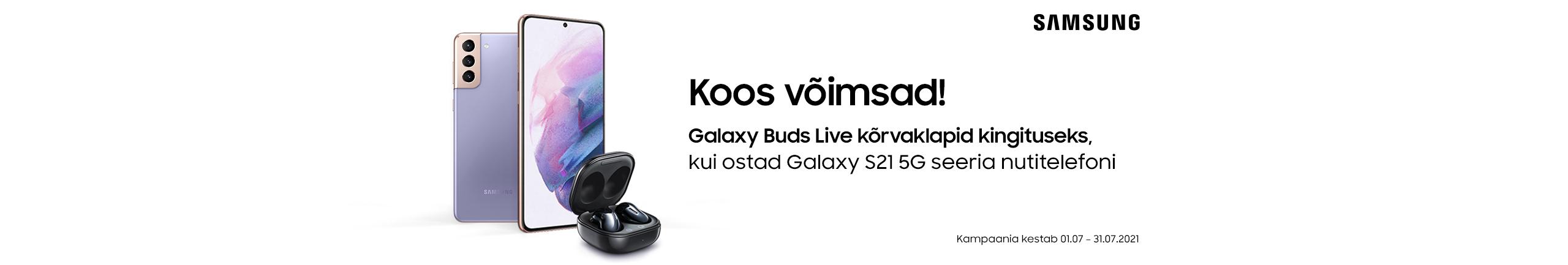 Osta Samsung Galaxy S21 seeria nutitelefon ja saad kingiks Galaxy Buds Live kõrvaklapid