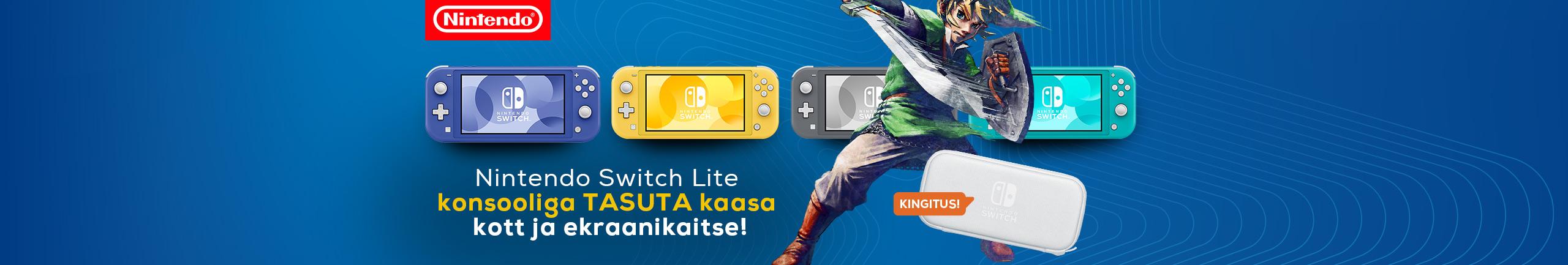 Nintendo Switch Lite konsooliga kaasa kott ja ekraanikaitse!