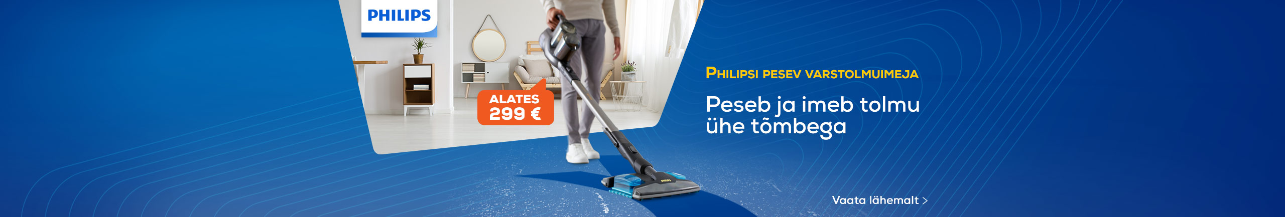 Philips cordless vacuum cleaner with a mopping function