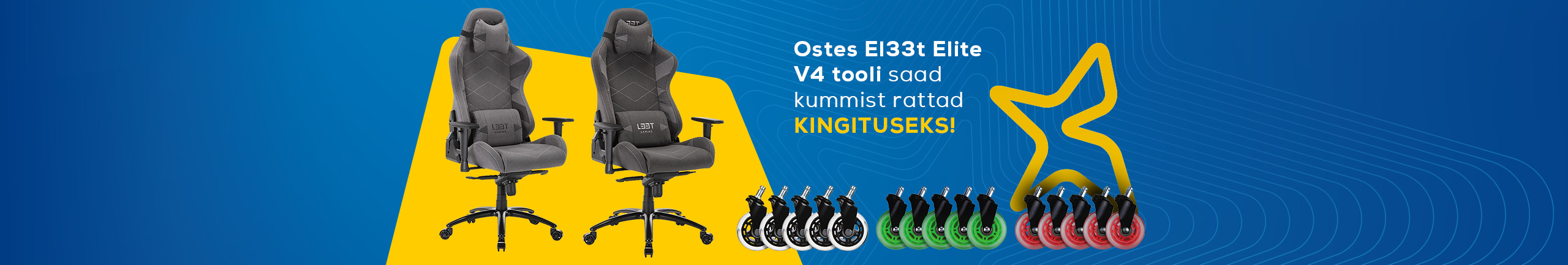 Buy El33t Elite v4 chair and get rubber wheels as a complimentary gift!