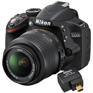 Peegelkaamera D3200 ja 18–55mm VR II & adapter, Nikon