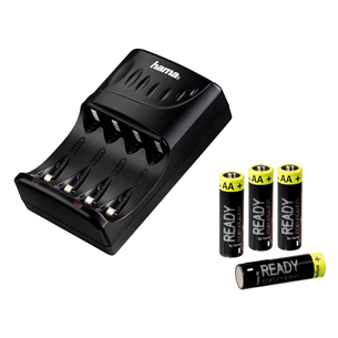 4 AA batteries with a charger, Hama