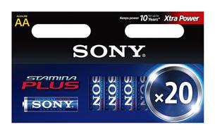 20 x AA patareid Stamina Plus, Sony