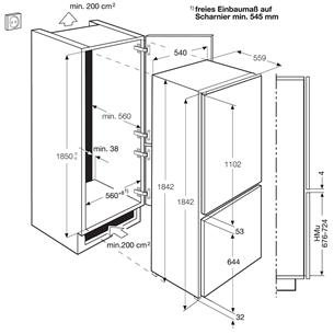 Интегрируемый холодильник Electrolux / высота: 185 см