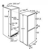 Built-in refrigerator Electrolux (144 cm)