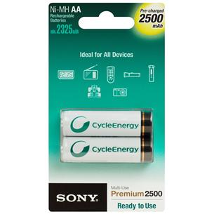2 x AA akupatareid, Sony / 2500 mAh