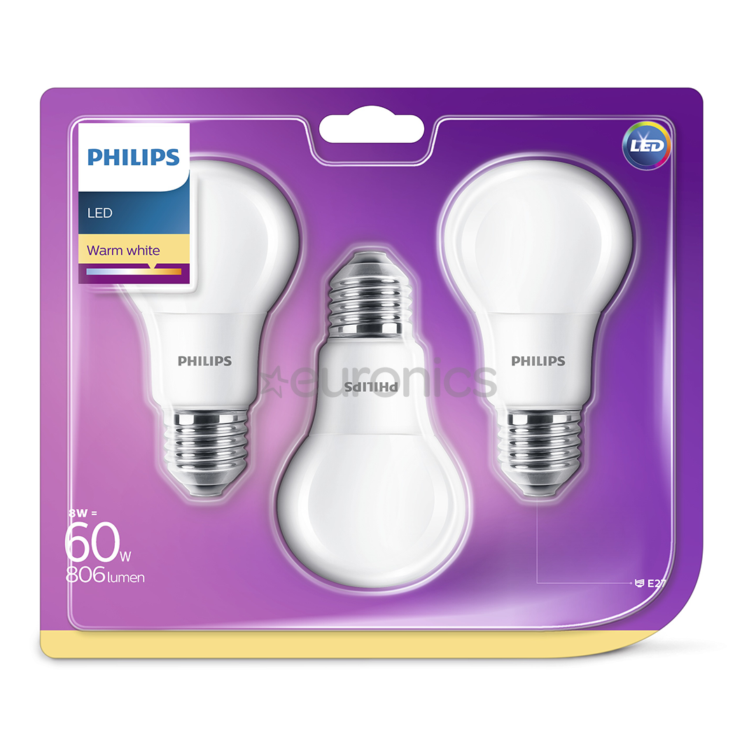 3 x led light bulb philips e27 60w 806 lm 929001313595. Black Bedroom Furniture Sets. Home Design Ideas