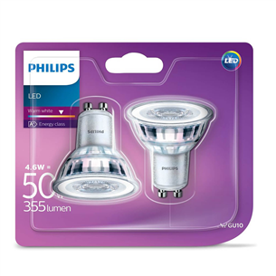 2 x LED light bulb Philips (GU10, 50W, 345 lm)