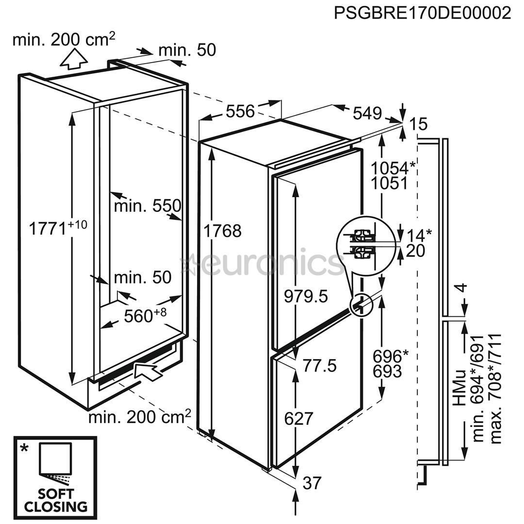 Integreeritav külmik AEG (177 cm)