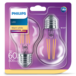 LED lamp Philips E27 (2 tk)