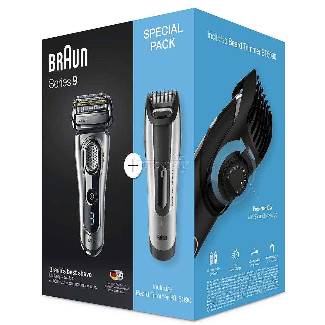 Shaver Series 9 + beard trimmer BT5090, Braun, 9260VS