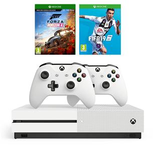 Mängukonsool Microsoft Xbox One S (1TB) + 2 pulti ja 2 mängu