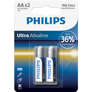 2 x Battery Philips LR6E AA Ultra Alkaline LR6E2B/10