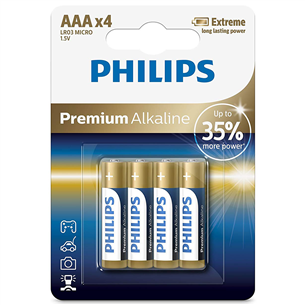 4 x Battery Philips LR03M AAA Premium Alkaline