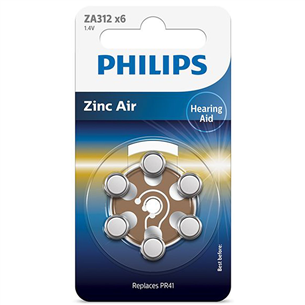 Батарейки Philips ZA312 1.4 V Zinc Air (PR41) (6 шт)