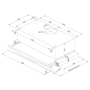 Built-in cooker hood Beko / 352 m³/h