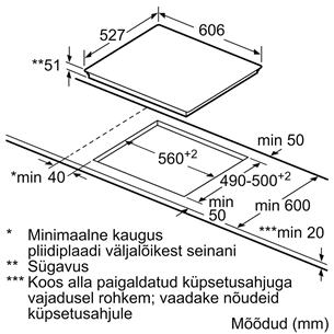 Integreeritav induktsioonpliidiplaat Bosch