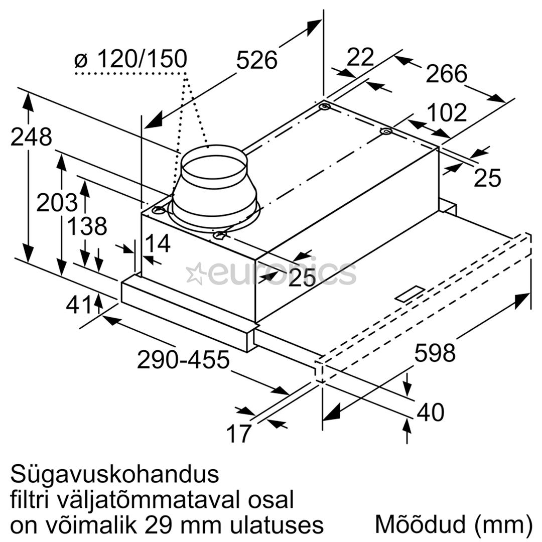Built-in hood Bosch (400 m³/h)