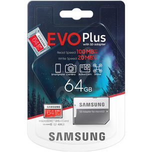 Карта памяти Micro SDXC + адаптер Samsung EVO Plus (64 ГБ)