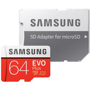 Micro SDXC mälukaart + adapter Samsung EVO Plus (64 GB)