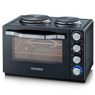 Mini oven with two cooking plates