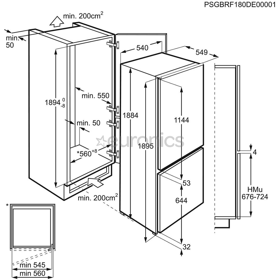 Интегрируемый холодильник Electrolux (189 см)